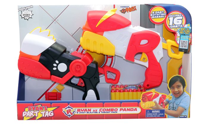 Ryan's Dart Tag Ryan vs Combo Panda 6 Shot Blaster & Targets (Ryan's World)